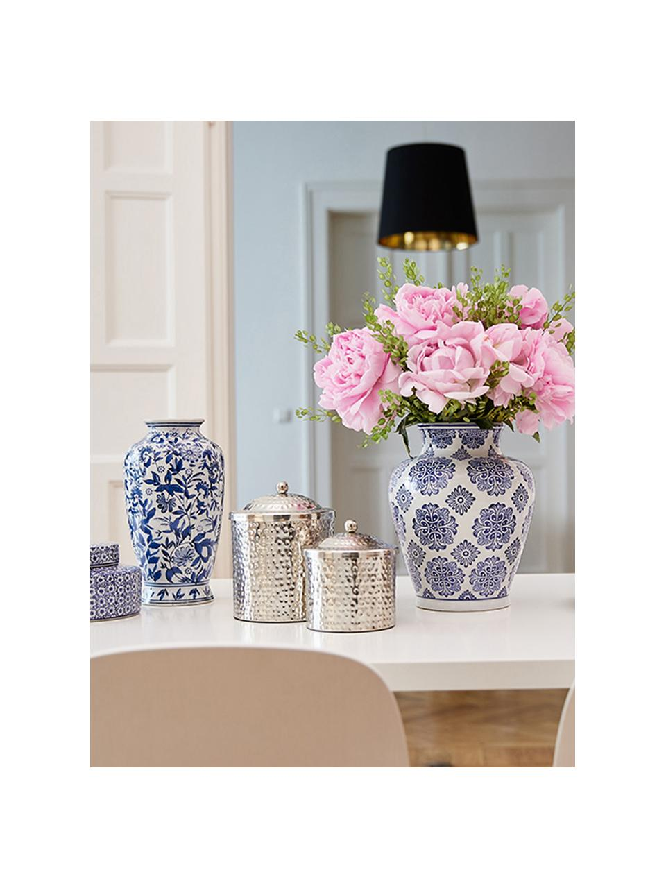 Vaso decorativo in porcellana Lin, Porcellana non impermeabile, Blu, bianco, Ø 16 x Alt. 31 cm