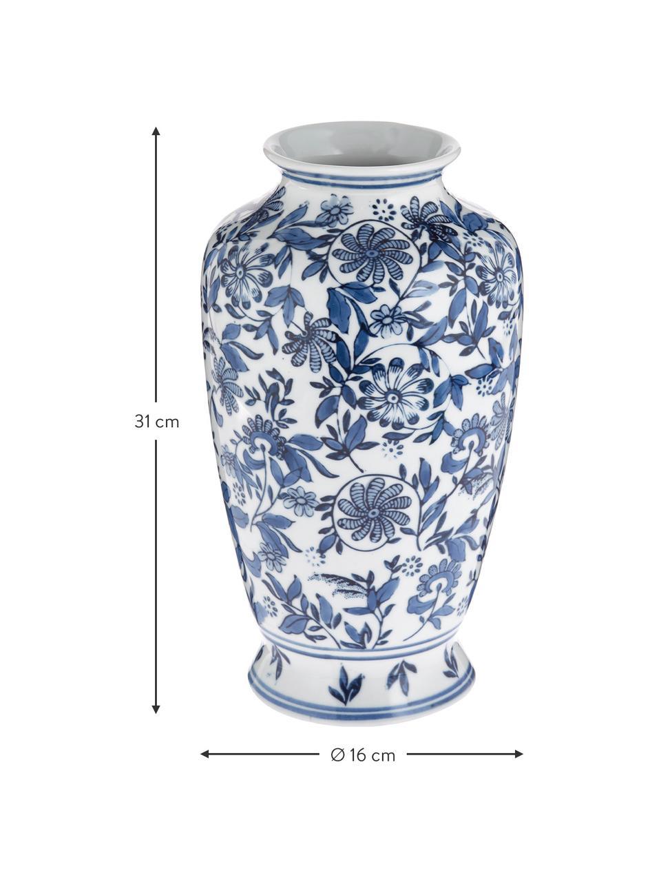 Grote decoratieve vaas Lin van porselein, Porselein, niet waterdicht, Blauw, wit, H 31 cm