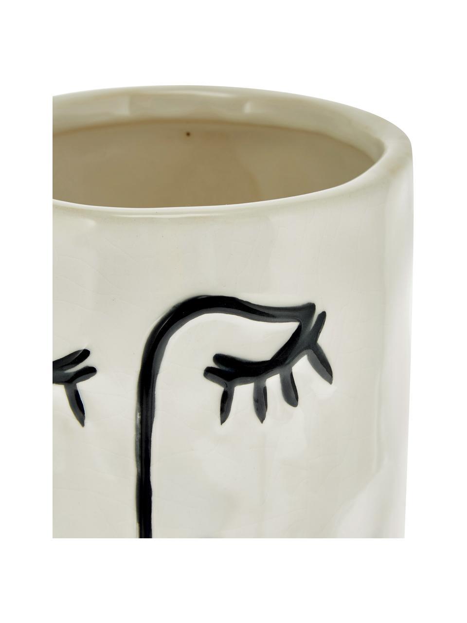 Kleiner Übertopf Face aus Steingut, Steingut, Gebrochenes Weiß, Schwarz, Ø 11 x H 18 cm