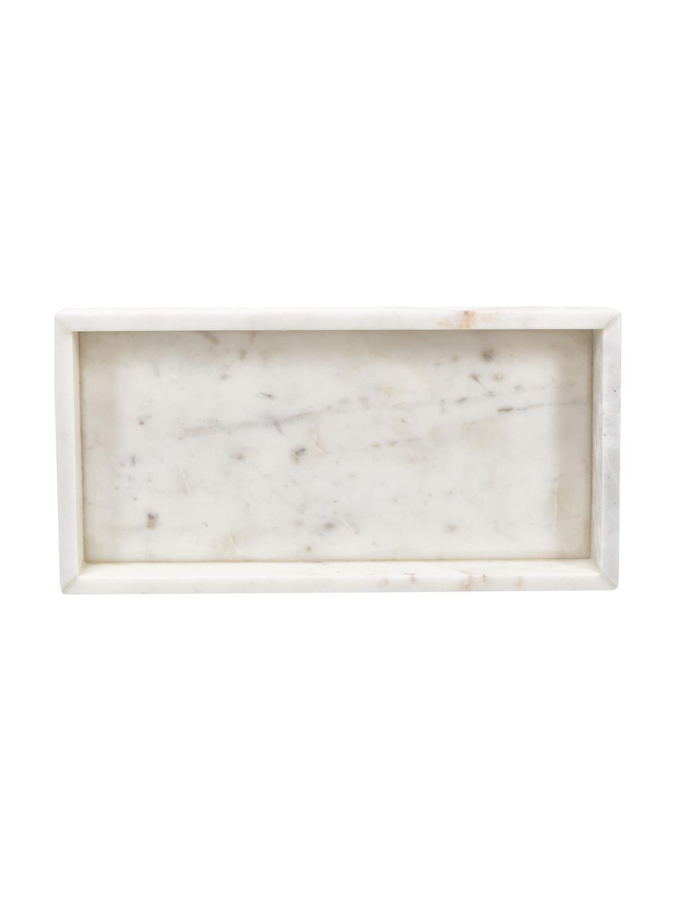Decoratief marmeren dienblad Sienna in wit, Marmer, Wit, 15 x 4 cm