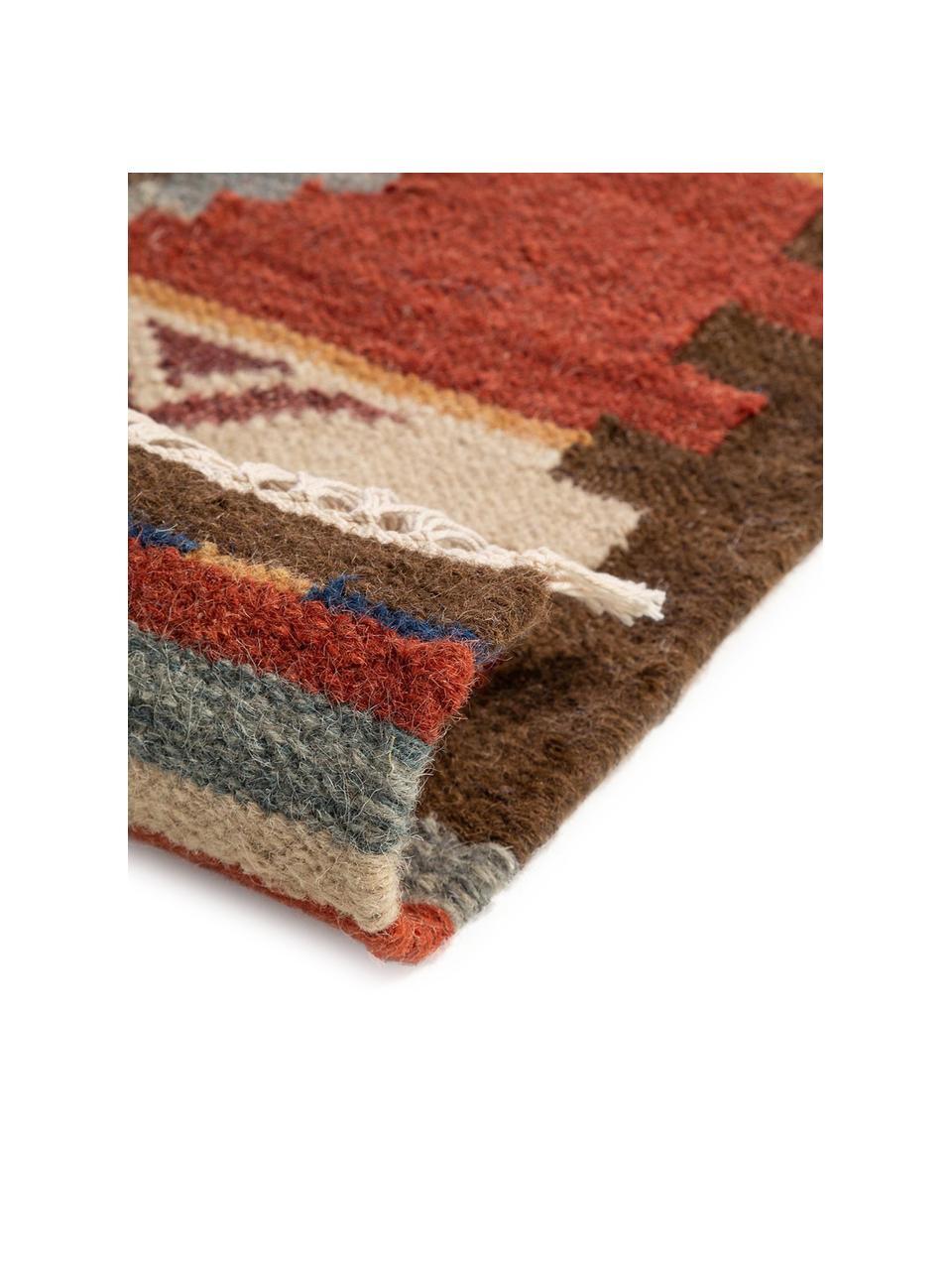 Handgewebter Kelimteppich Zohra aus Wolle, Flor: 90% Wolle, 10% Baumwolle, Rot, Mehrfarbig, B 200 x L 300 cm (Größe L)
