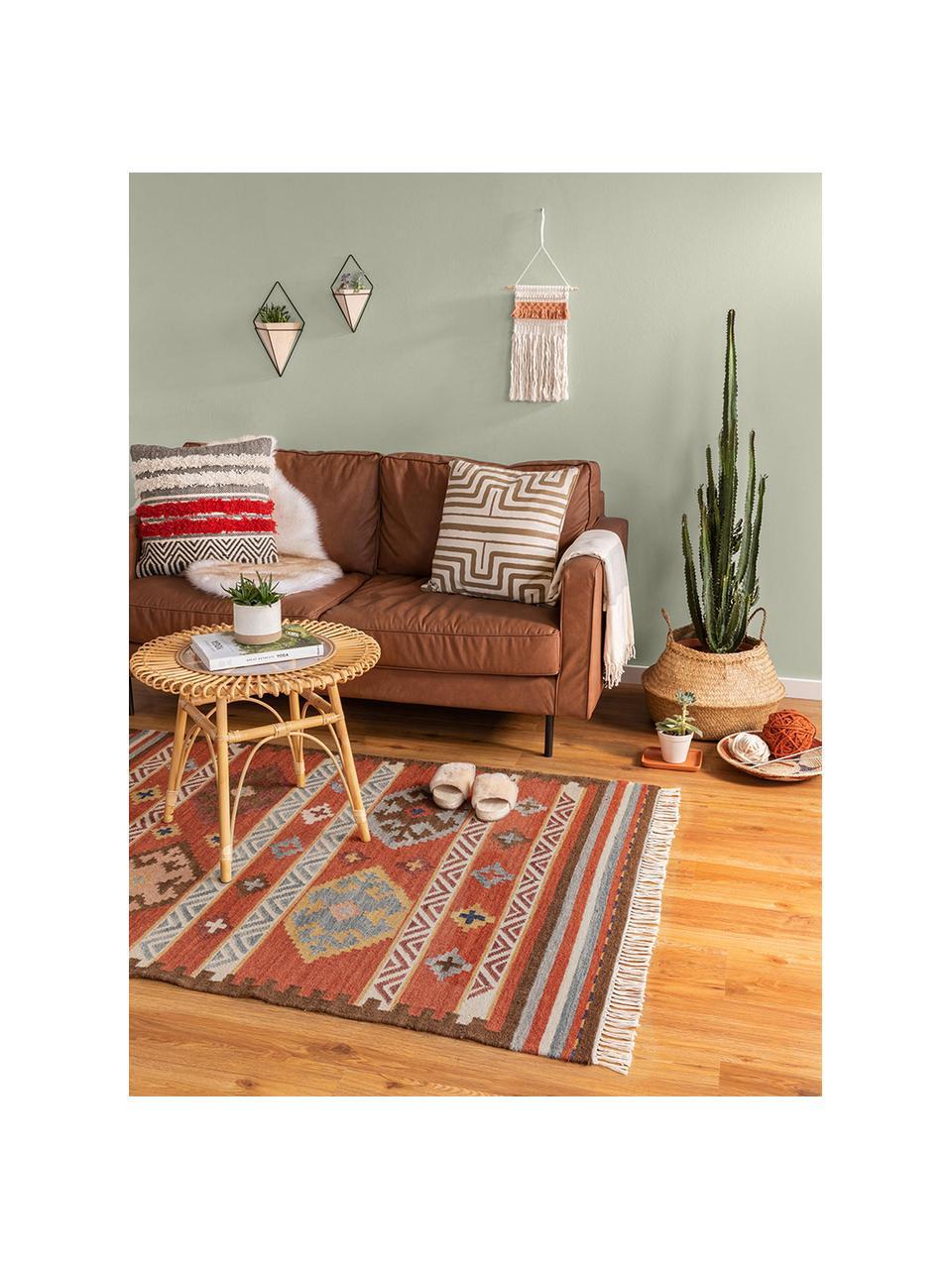 Ręcznie tkany dywan kilim z wełny Zohra, Czerwony, wielobarwny, S 200 x D 300 cm (Rozmiar L)