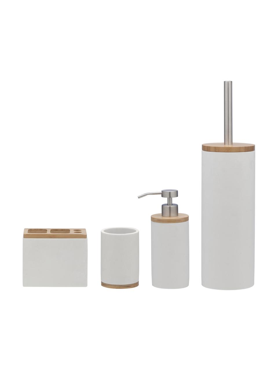 Zeepdispenser Grace met bamboehout, Houder: polyresin, Deksel: bamboehout, Pompje: kunststof, Wit, Ø 7 x H 18 cm