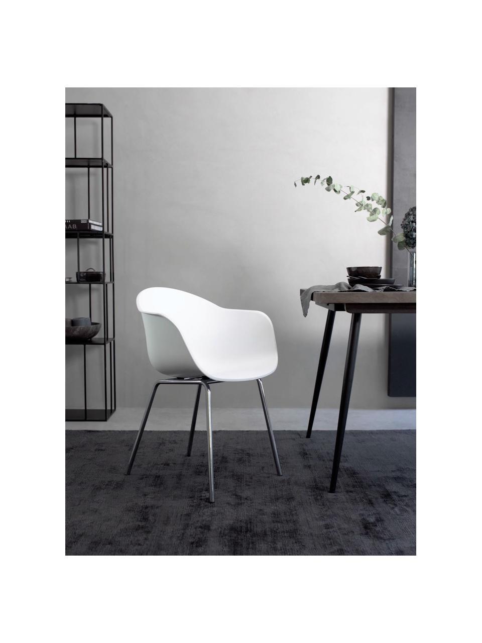 Krzesło z podłokietnikami z tworzywa sztucznego Claire, Nogi: metal galwanizowany, Siedzisko: biały Nogi: odcienie srebrnego, błyszczący, S 60 x G 54 cm