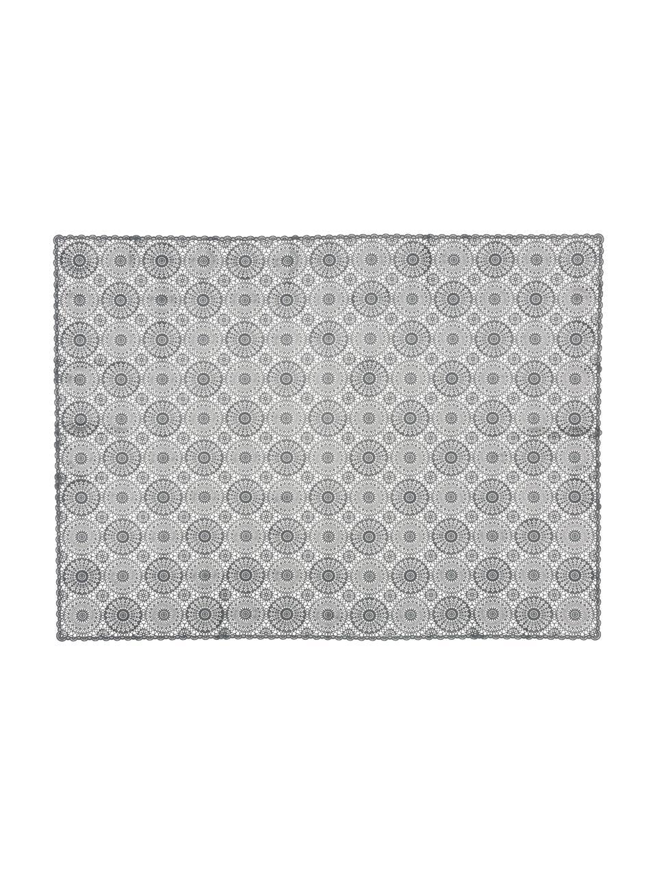Tovaglia di plastica effetto all'uncinetto Crochet, Materiale sintetico (PVC), Nero, Per 4-6 persone  (Larg. 137 x Lung. 180 cm)