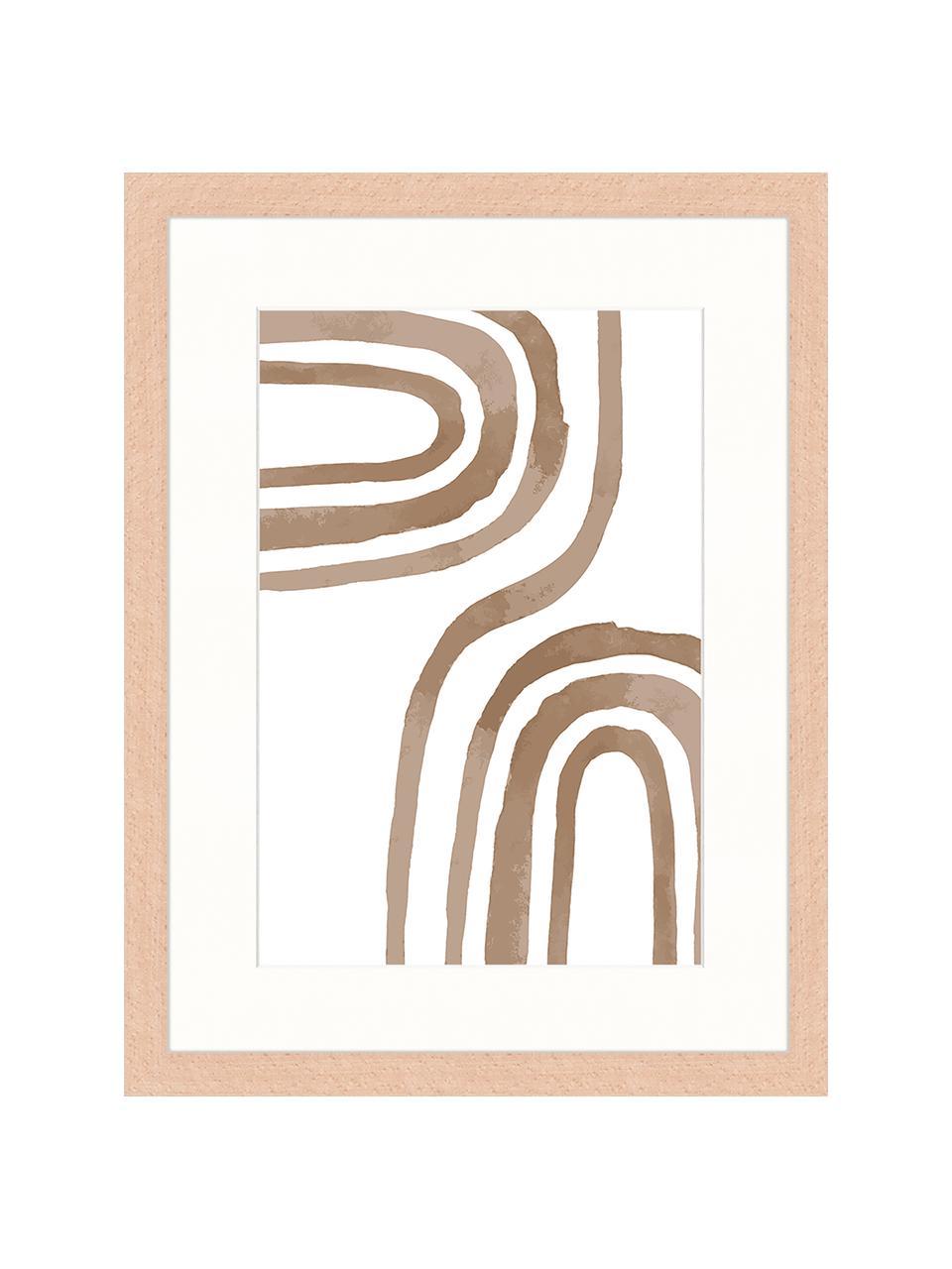 Ingelijste digitale print Modern Poster, Afbeelding: digitale print op papier,, Lijst: gelakt hout, Bruin, wit, 33 x 43 cm