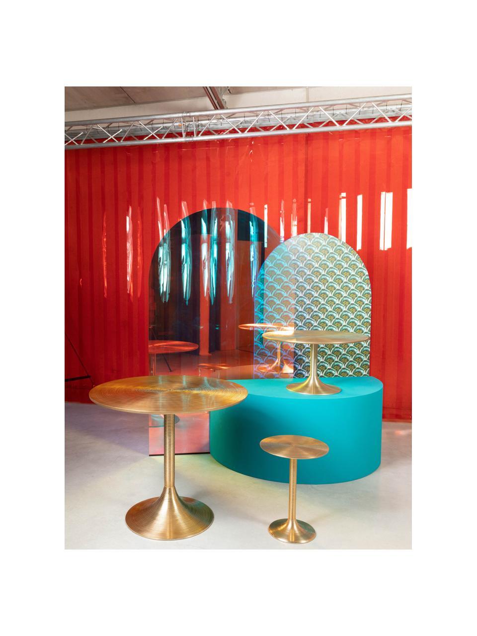 Tavolino rotondo dorato Hypnotising, Alluminio verniciato, Dorato, Ø 37 x Alt. 48 cm