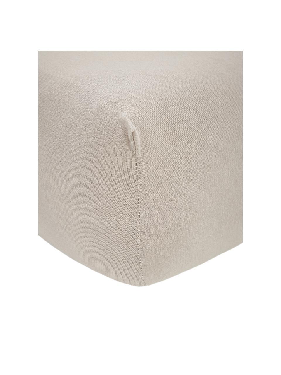Prześcieradło z gumką na topper z jerseu i elastanem Lara, 95% bawełna, 5% elastan, Taupe, S 180 x D 200 cm