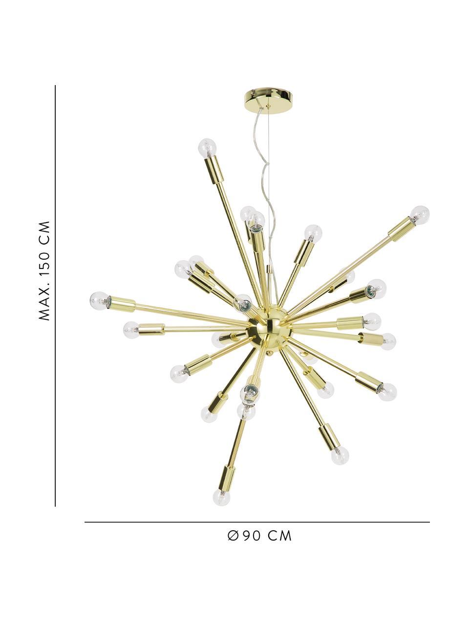 Grote hanglamp Spike in goudkleur, Lampenkap: metaal, Baldakijn: metaal, Baldakijn: goudkleurig. Lampenkap: goudkleurig. Snoer: transparant, Ø 90 cm