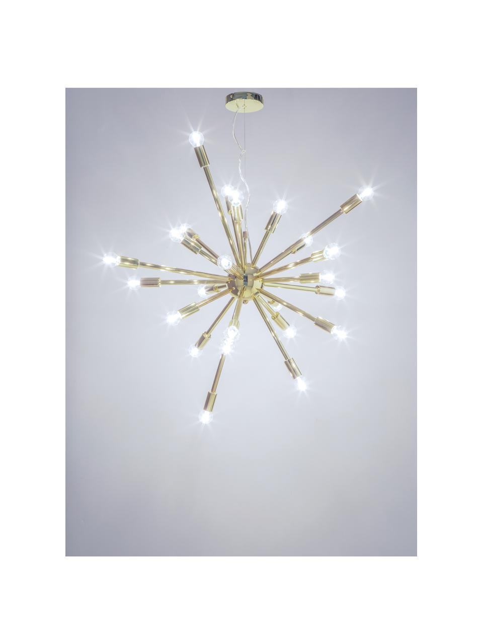 Grote hanglamp Spike in goudkleur, Baldakijn: metaal, Lampenkap: metaal, Baldakijn: goudkleurig. Lampenkap: goudkleurig. Snoer: transparant, Ø 90 cm