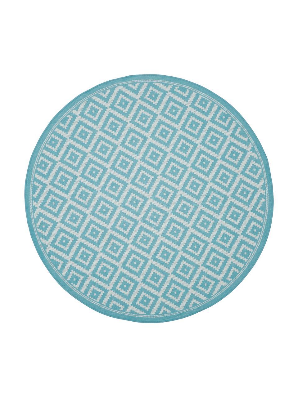 Gemusterter runder In- & Outdoor-Teppich Miami in Türkis/Weiß, 86% Polypropylen, 14% Polyester, Weiß, Türkis, Ø 200 cm (Größe L)