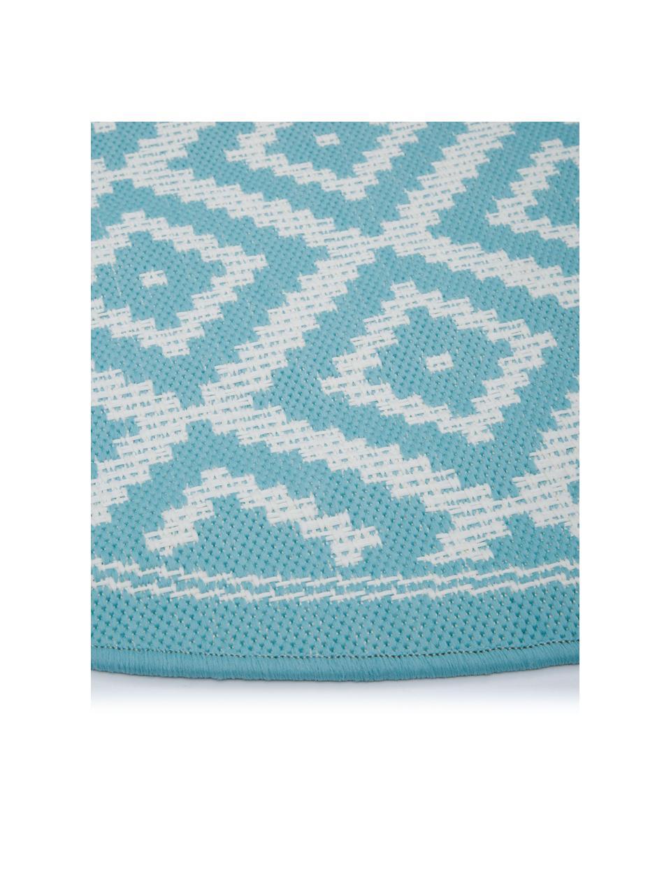 Okrągły dywan wewnętrzny/zewnętrzny Miami, 86% polipropylen, 14% poliester, Biały, turkusowy, Ø 200 cm (Rozmiar L)