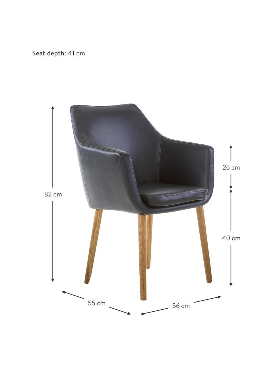 Kunstleder-Armlehnstuhl Nora mit Holzbeine, Bezug: Kunstleder (Polyurethan) , Beine: Eichenholz, Kunstleder Schwarz, B 56 x T 55 cm