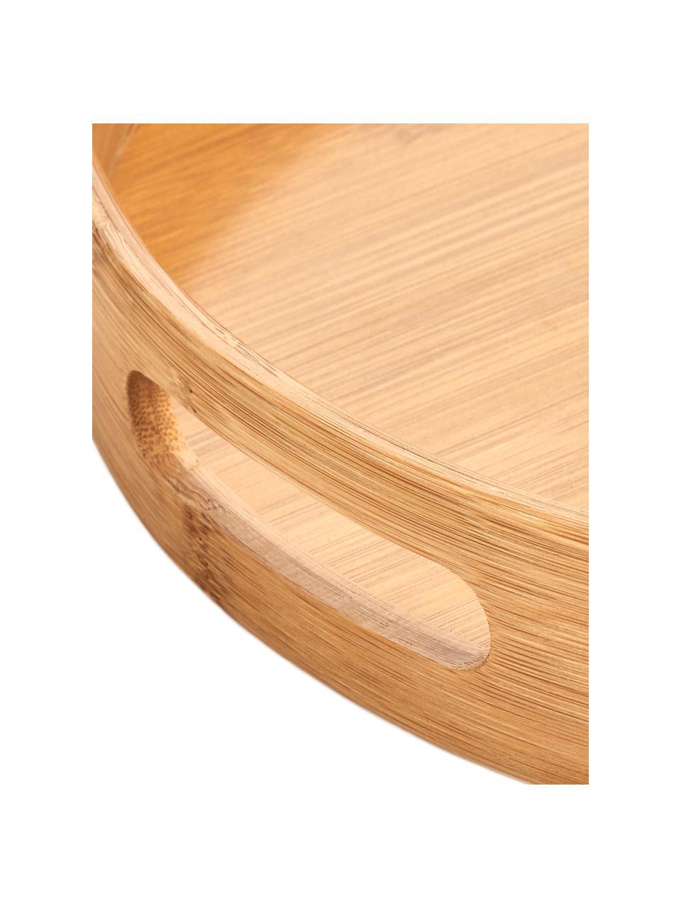 Okrągła taca z drewna bambusowego Ambo, Drewno bambusowe, Drewno bambusowe, Ø 38 x W 5 cm