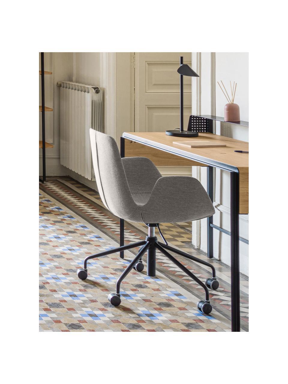 Polster-Bürodrehstuhl Yolanda, höhenverstellbar, Bezug: Polyester, Gestell: Stahl, beschichtet, Grau, Schwarz, B 66 x T 72 cm