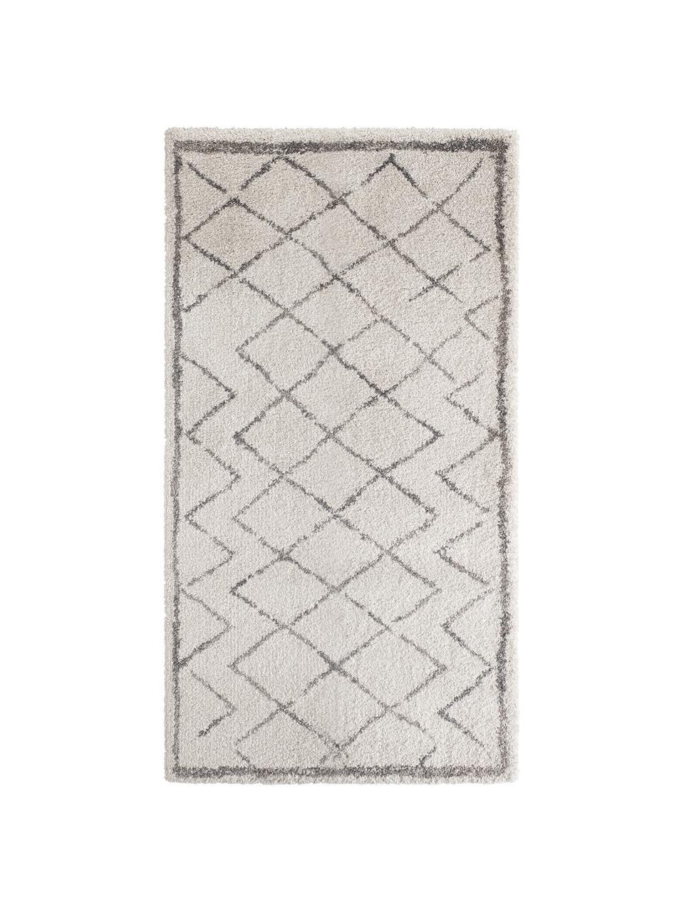 Hochflor-Teppich Luna Diamond mit Rautenmuster, Grau/Creme, Flor: 100% Polypropylen, Creme, Grau, B 80 x L 150 cm (Größe XS)