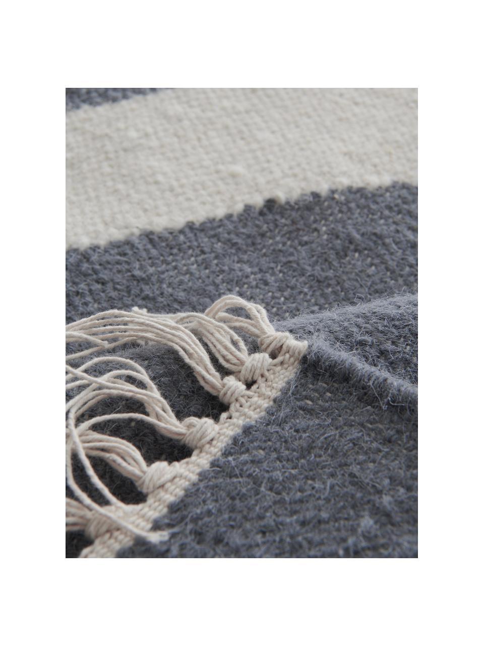 Handgeweven kelim vloerkleed Stones met abstract patroon, 81% wol, 19% katoen, Gebroken wit, staalgrijs, B 160 x L 230 cm (maat M)