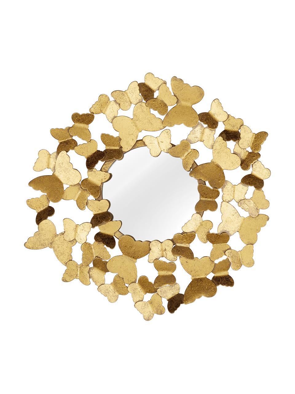 Specchio da parete aspetto antico Butterfly, Cornice: metallo, Superficie dello specchio: lastra di vetro, Dorato, Ø 67 cm