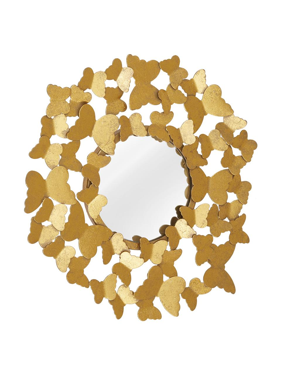 Miroir mural rond métal doré Butterfly, Couleur dorée