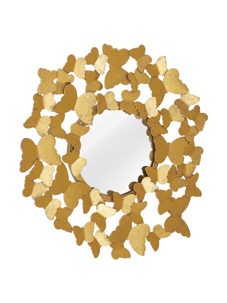 Ronde wandspiegel Butterfly met goudkleurige frame in antieke optiek, Frame: metaal, Goudkleurig, Ø 67 cm