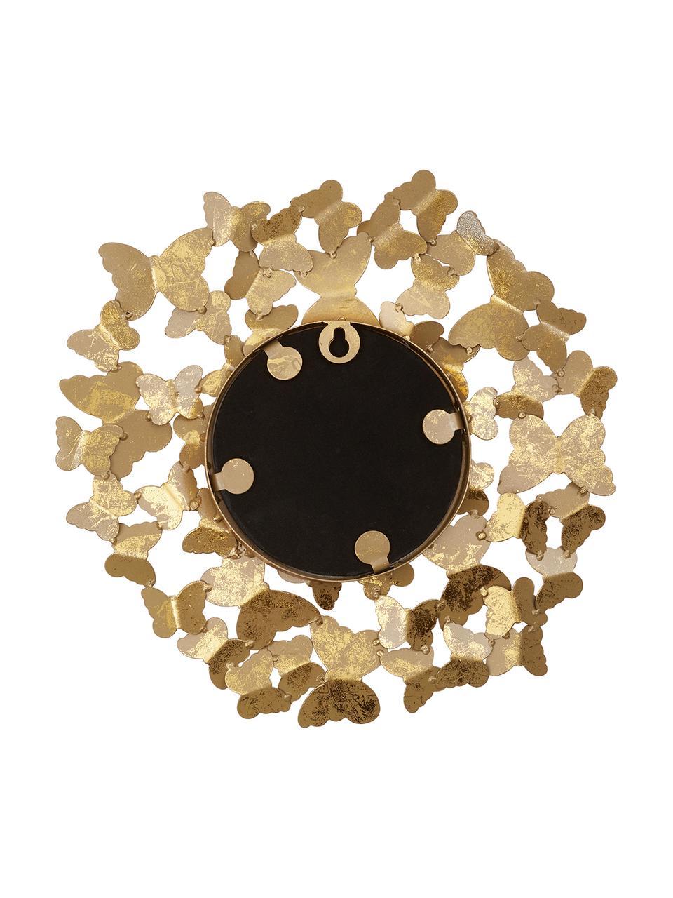 Runder Wandspiegel Butterfly mit Goldrahmen in Antik-Optik, Rahmen: Metall, Rückseite: Mitteldichte Holzfaserpla, Spiegelfläche: Spiegelglas, Goldfarben, Ø 67 cm