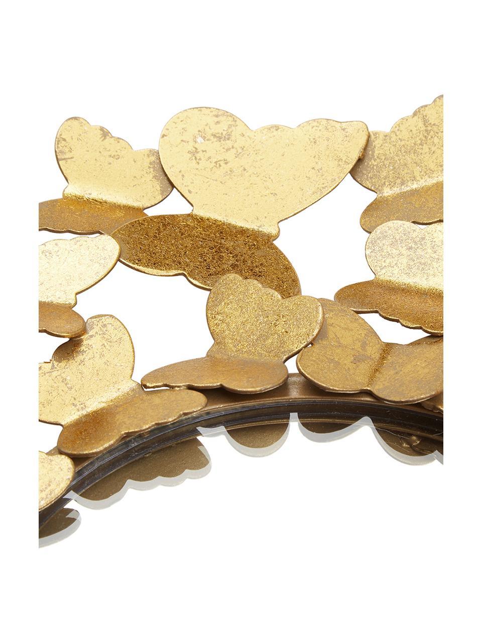 Specchio da parete con cornice in metallo dorato Butterfly, Cornice: metallo, Superficie dello specchio: lastra di vetro, Dorato, Ø 67 cm x Prof. 4 cm