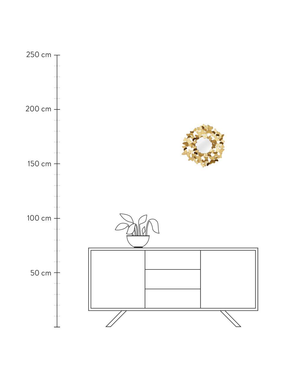 Runder Wandspiegel Butterfly mit goldenem Metallrahmen, Rahmen: Metall, beschichtet, Rückseite: Mitteldichte Holzfaserpla, Spiegelfläche: Spiegelglas, Goldfarben, Ø 92 x T 4 cm