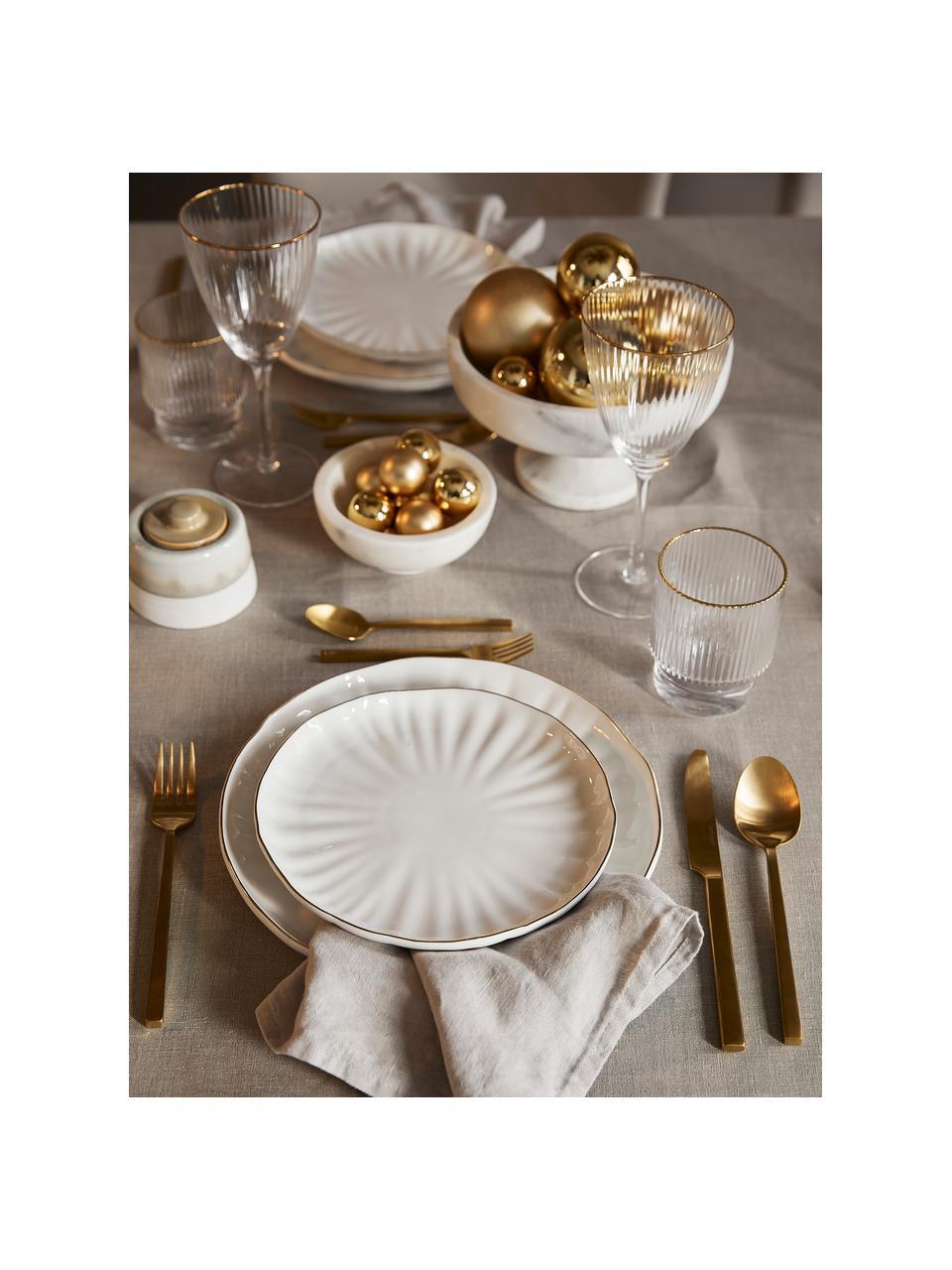 Frühstücksteller Sali aus Porzellan mit goldenem Rand und Relief, 2 Stück, Porzellan, Weiß, Ø 21 cm