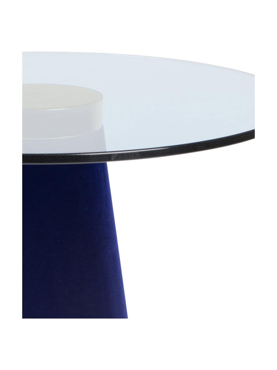 Tavolino con piano in vetro Leader Of The Fanclub, Piano d'appoggio: vetro temperato, Struttura: alluminio verniciato, Blu, Ø 40 x Alt. 39 cm