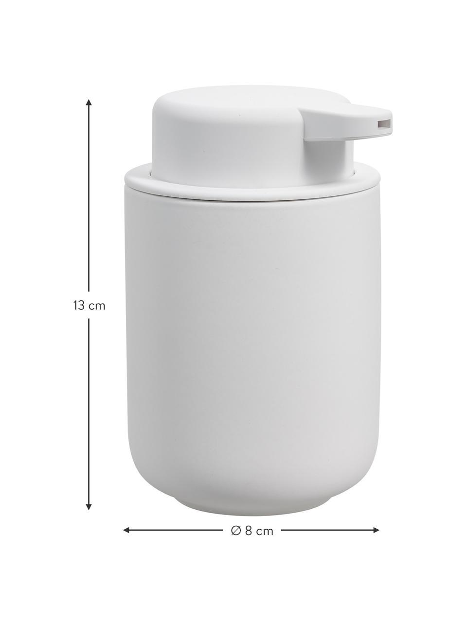 Dispenser sapone in gres Ume, Contenitore: gres rivestita con superf, Bianco opaco, Ø 8 x Alt. 13 cm