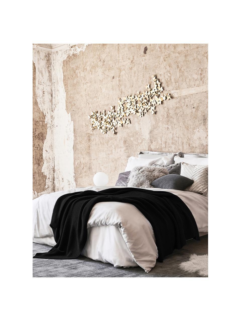 Dzianinowy koc z bawełny organicznej  Adalyn, 100% bawełna organiczna, certyfikat GOTS, Czarny, S 150 x D 200 cm