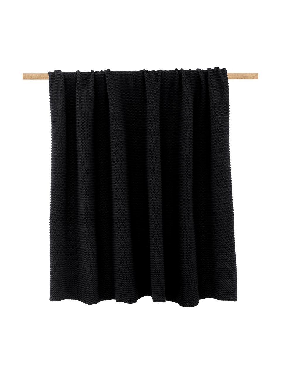 Gebreide plaid Adalyn in zwart, 100% katoen, Zwart, 150 x 200 cm