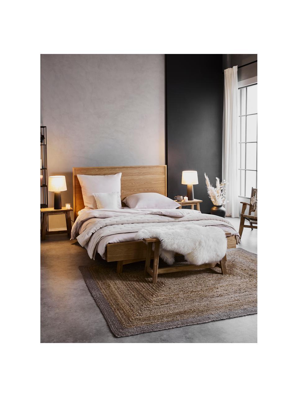Łóżko drewniane z zagłówkiem Tammy, Stelaż: płyta pilśniowa średniej , Nogi: lite drewno dębowe, Drewno dębowe, S 180 x D 200 cm