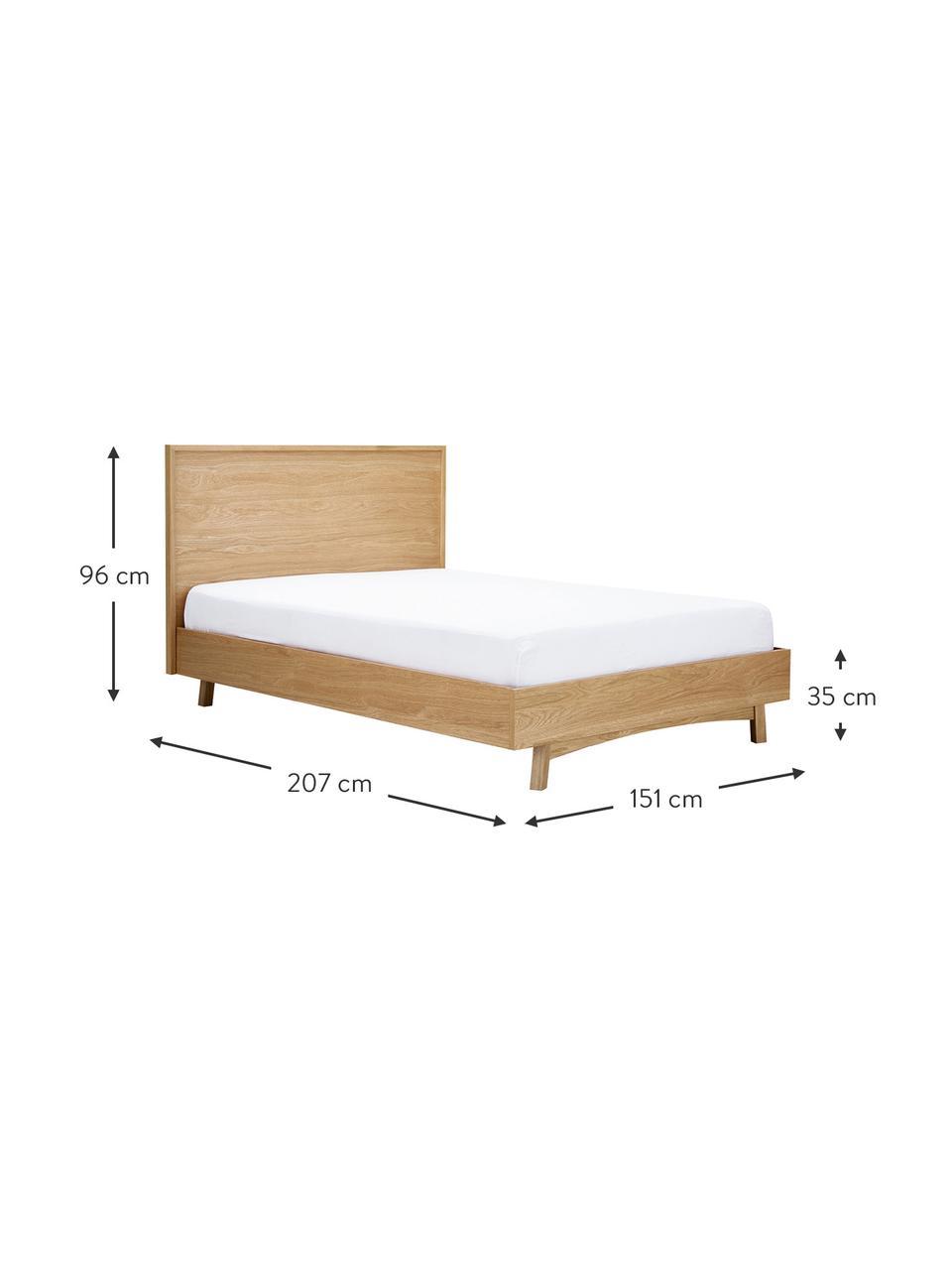 Houten bed Tammy met hoofdeinde, Frame: MDF met eikenhoutfineer, , Poten: massief eikenhout, Eikenhoutkleurig, 140 x 200 cm