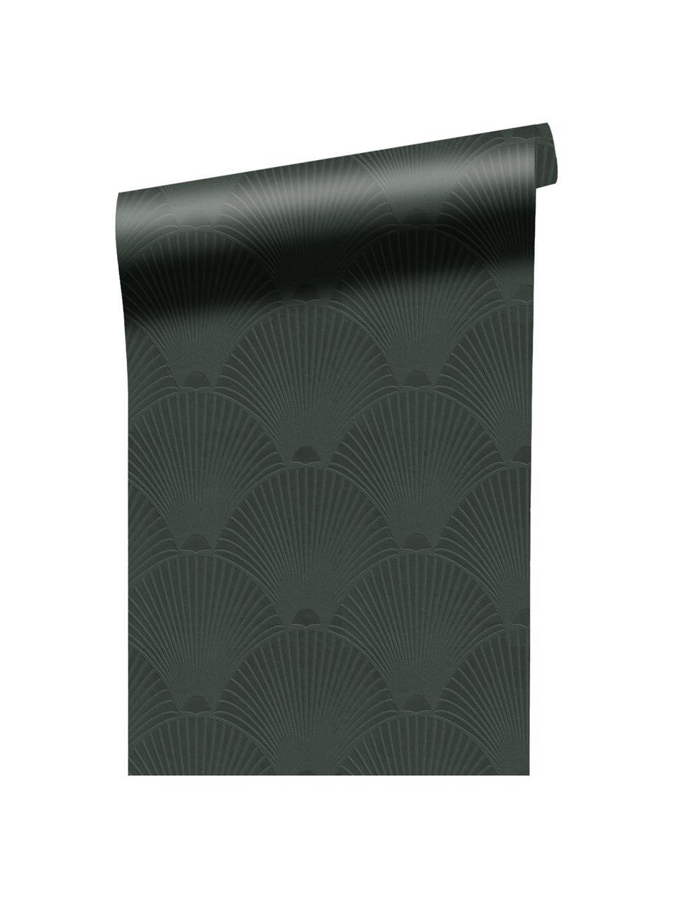 Carta da parati Art Deco Green, Tessuto non tessuto, Verde scuro, Larg. 52 x Alt. 1005 cm