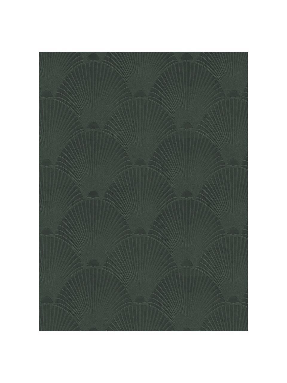 Tapete Art Deco Green, Vlies, Dunkelgrün, 52 x 1005 cm