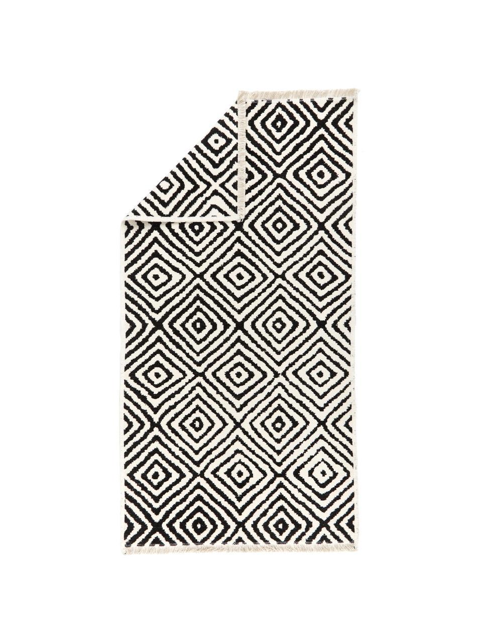Tappeto Kilim nero/bianco Mozaik, 90% cotone 10% poliestere, Nero, Larg. 120 x Lung. 180 cm (taglia S)