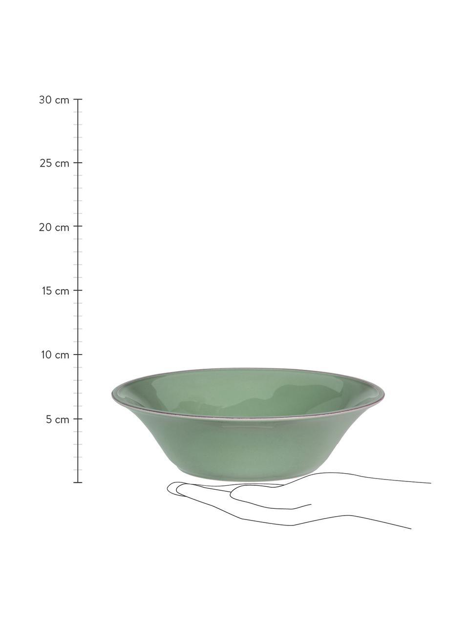 Salatschüssel Constance im Landhaus Style aus Steingut, Ø 30 cm, Steingut, Salbeigrün, Ø 30 x H 9 cm