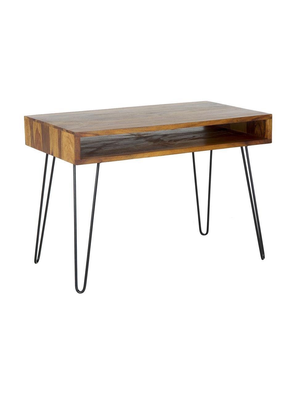Bureau Repa van hout en metaal, Frame: sheesham hout, massief, g, Poten: gelakt metaal, Sheesham hout, zwart, 110 x 76 cm