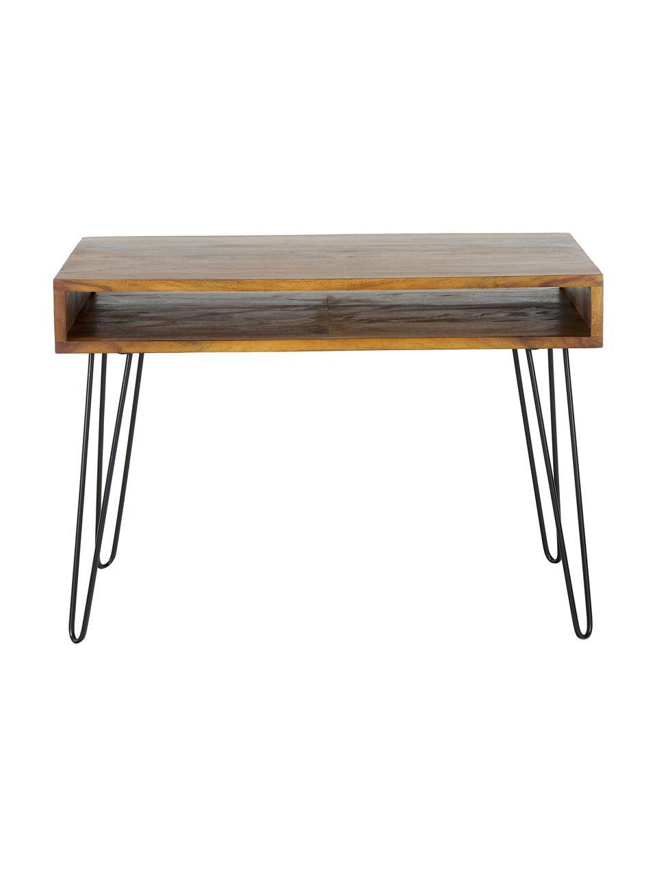 Biurko z drewna i metalu Repa, Korpus: lite drewno sheesham, lak, Nogi: metal lakierowany, Drewno palisandrowe, czarny, S 110 x W 76 cm