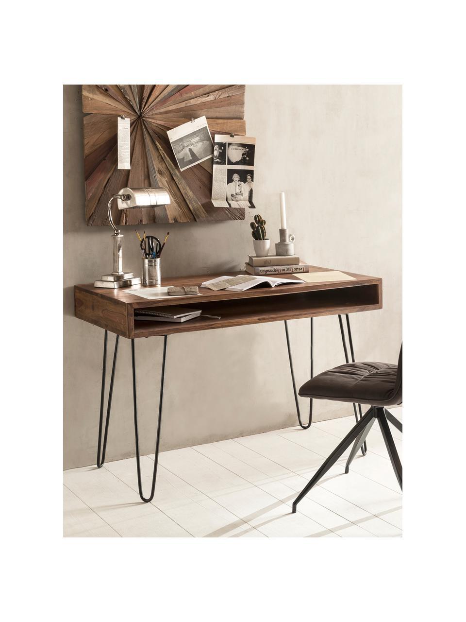 Schreibtisch Repa aus Holz und Metall, Korpus: Sheeshamholz, massiv, lac, Beine: Metall, lackiert, Sheeshamholz, Schwarz, 110 x 76 cm