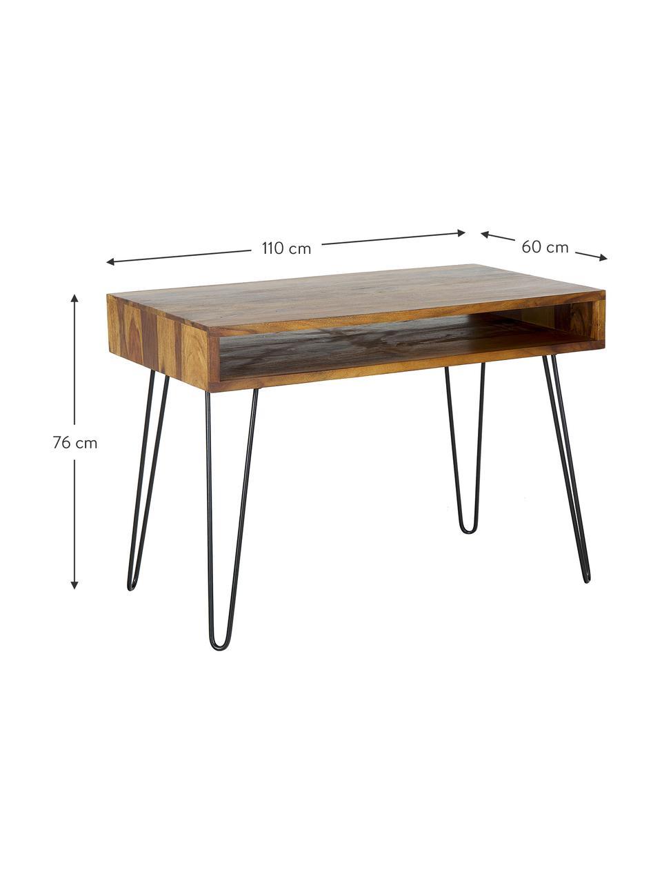 Bureau en bois et métal Repa, Sissoo, noir