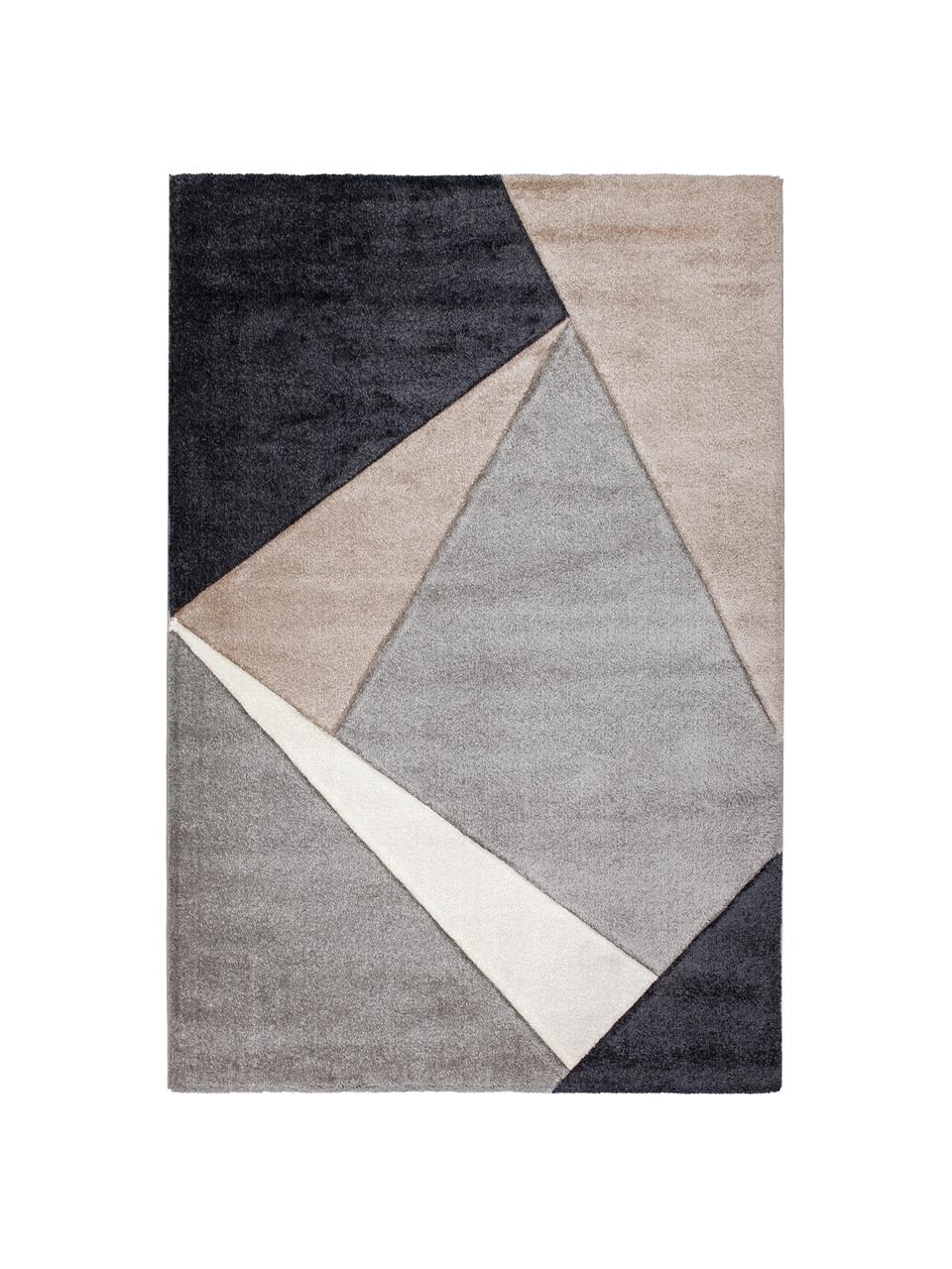 Tappeto con motivo geometrico beige-grigio My Broadway, Retro: juta, Taupe, beige, antracite, grigio, Larg.160 x Lung. 230 cm (taglia M)