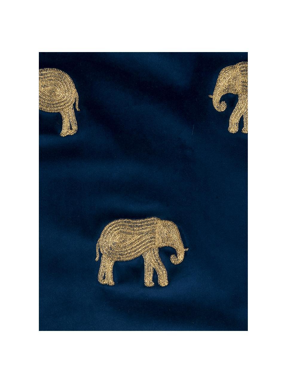 Bestickte Samt-Kissenhülle Elefco in Blau/Gold, 100% Polyestersamt, Dunkelblau, Goldfarben, 40 x 40 cm