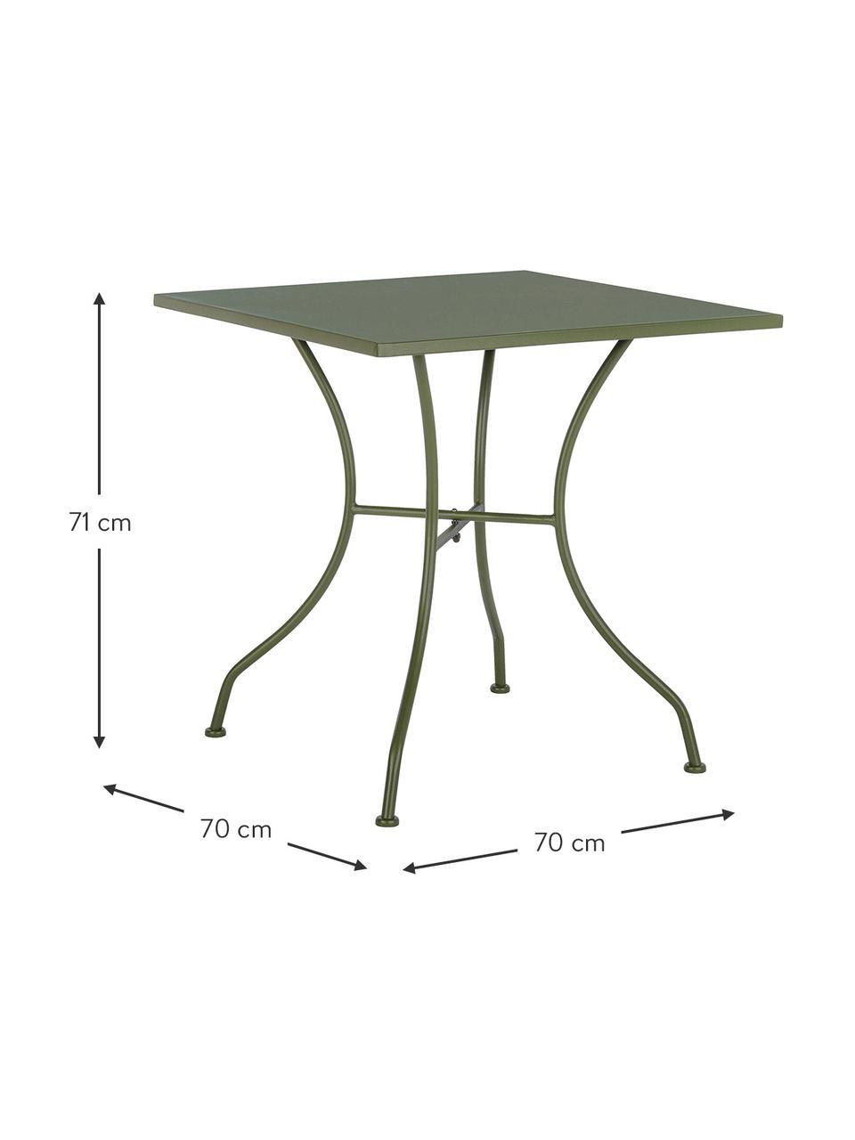 Tavolino da giardino in metallo Kelsie, Acciaio verniciato, Verde, Larg. 70 x Alt. 70 cm