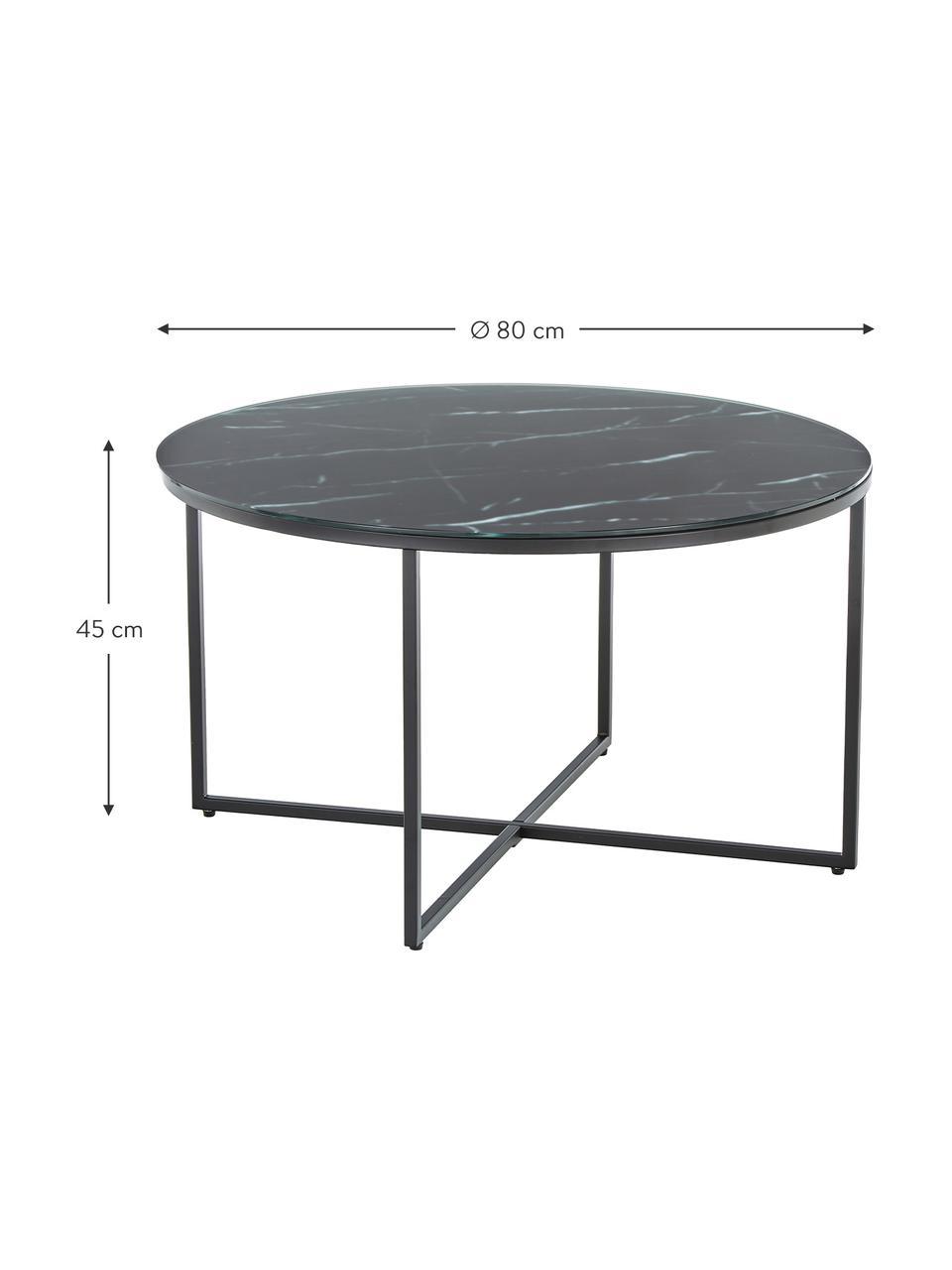 Salontafel Antigua met glazen tafelblad met marmerlook, Tafelblad: mat bedrukt glas, Frame: gepoedercoat staal, Zwart-grijs gemarmerd, zwart, Ø 80 x H 45 cm