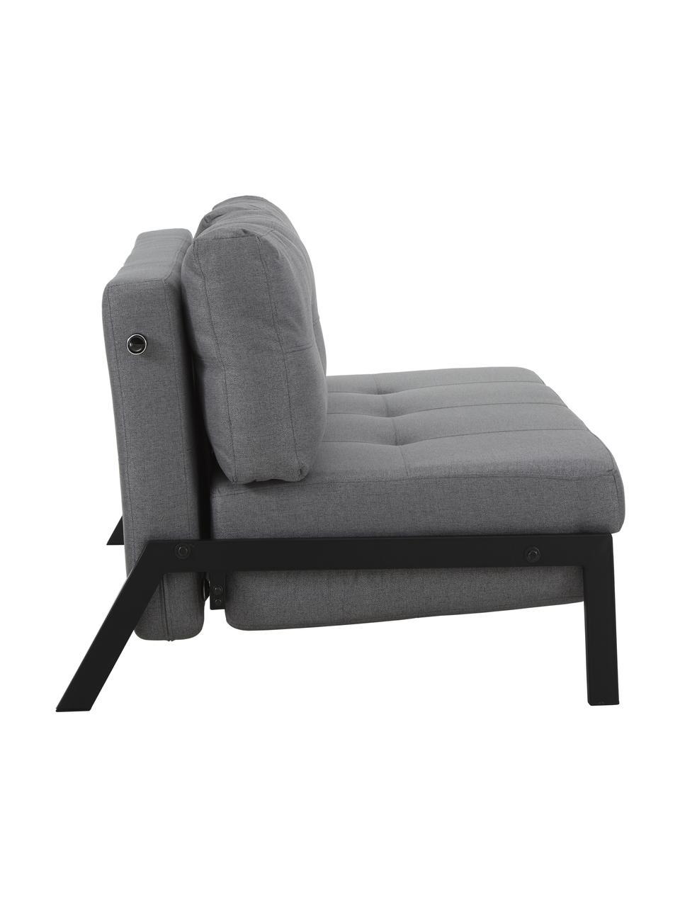 Sofa rozkładana z metalowymi nogami Edward, Tapicerka: 100% poliester 40000 cyk, Ciemny szary, S 152 x G 96 cm