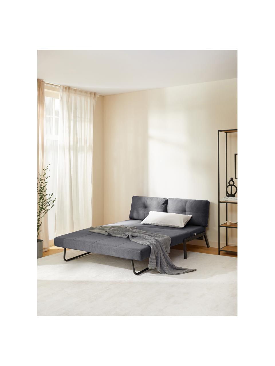 Slaapbank Edward in donkergrijs met metalen poten, uitklapbaar, Bekleding: 100% polyester, Geweven stof donkergrijs, B 152  x D 96 cm