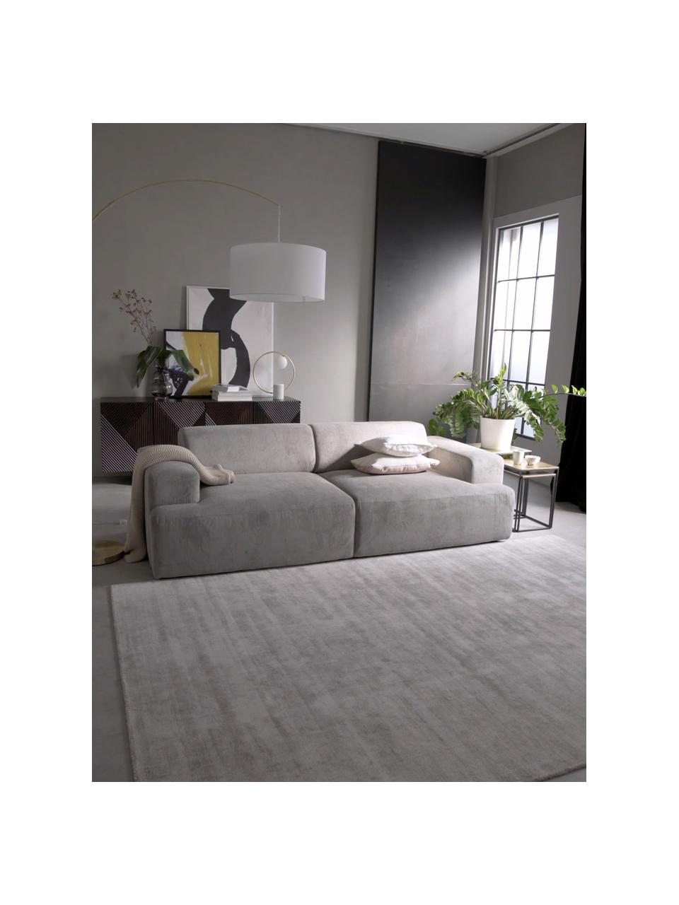 Corduroy bank Melva (3-zits) in grijs, Bekleding: Koord (92% polyester, 8% , Frame: massief grenenhout, spaan, Poten: grenenhout De poten bevin, Grijs, B 240 x D 101 cm
