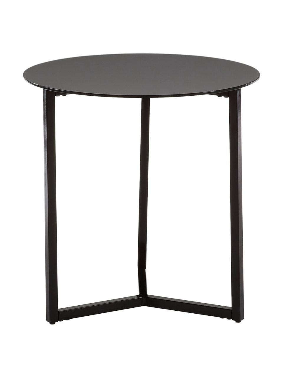 Beistelltisch Raeam mit schwarzer Glasplatte, Tischplatte: Sicherheitsglas, getönt, Gestell: Metall, lackiert, Schwarz, Ø 50 x H 50 cm